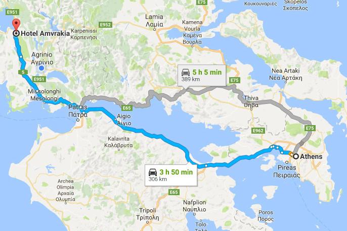 Katsoudas Travel - Route: Athens - Amfilochia