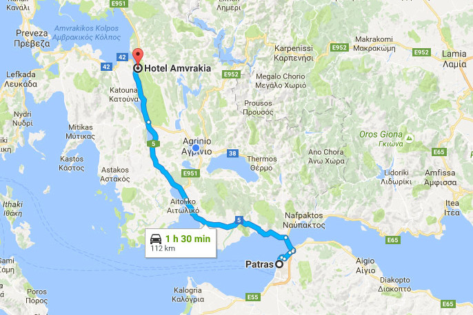 Katsoudas Travel - Route: Patras - Amfilochia